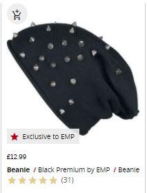 black stud beanie hat
