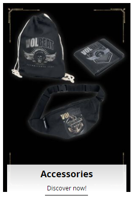 selection of volbeat accessories from emp uk