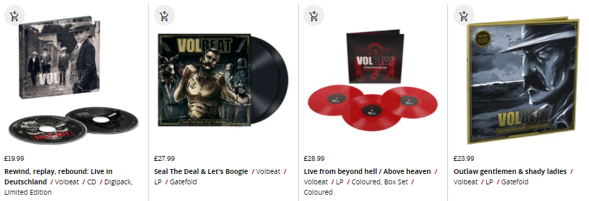 selection of volbeat albums