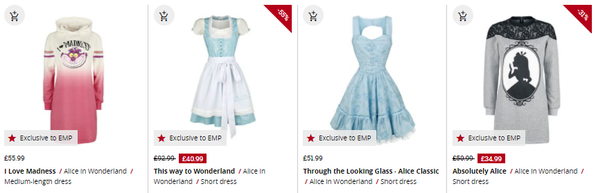 selection of alice in wonderland dresses from emp