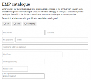 emp catalogue form