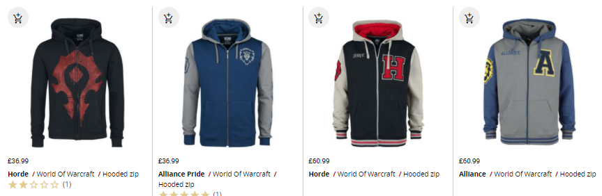 selection of world of warcraft hoodies at emp