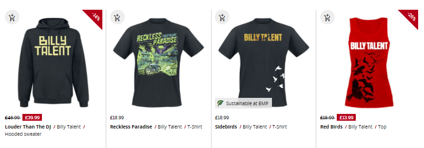selection of billy talent products available at emp