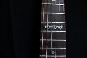 EMP logo on custom branded Viking V guitar
