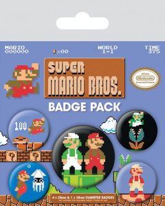 super mario bros badge set
