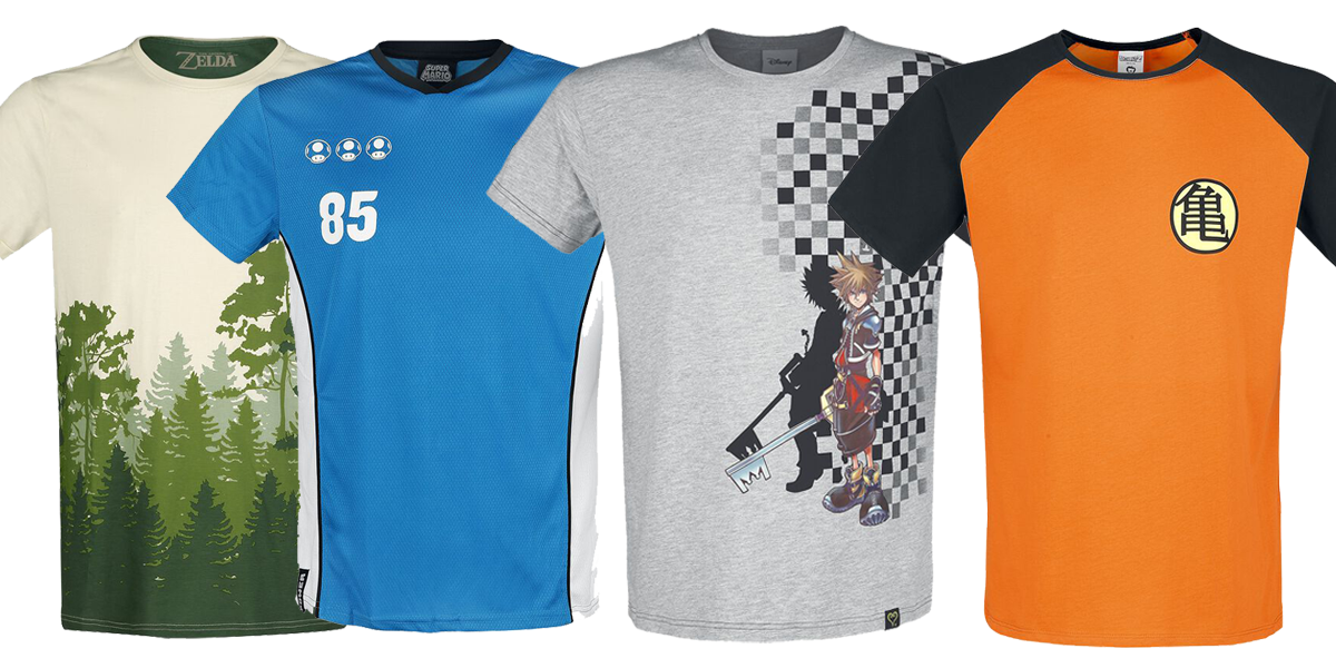 selection of gaming t shirts